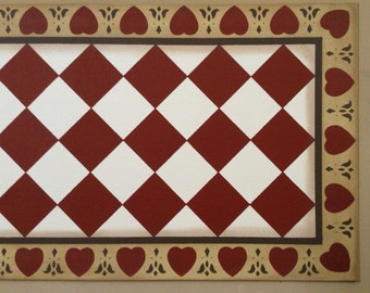 Custom Canvas Floorcloth or Table Runner - Diamonds with Hearts & Tulips Border - Tea (rust color), Milky Way White, and Dijon Yellow