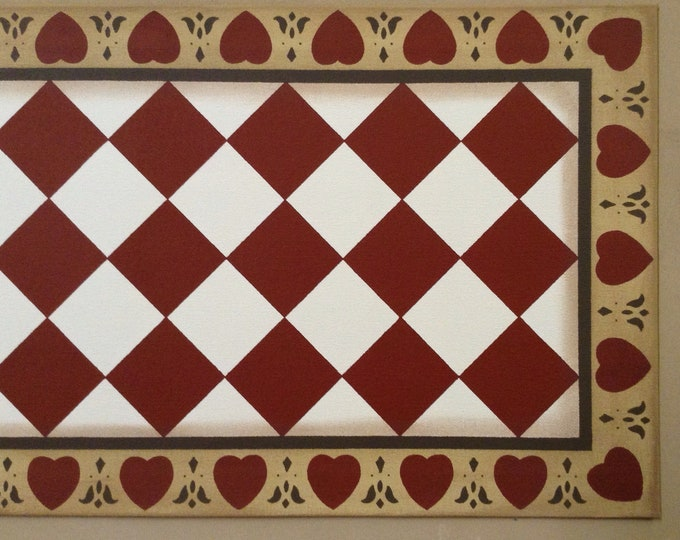 Custom Canvas Floorcloth or Table Runner - Diamonds with Hearts Border - Tea (rust color), Milky Way White, and Dijon Yellow - by Black Hors