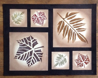 "Last One! - 13"" x 17"" Painted Canvas Placemat or Table Mat - Autumn Leaves - Fall"