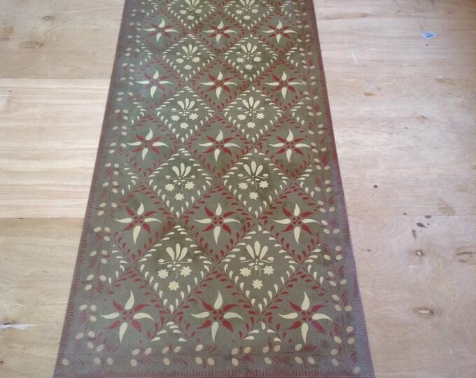 Custom Canvas Floorcloth - Wayside Inn Design on Mottled Bonze - by Black Horse Studio/Jodi Myers - choose your size