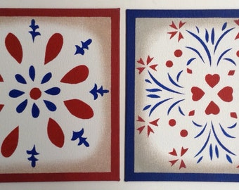 "Painted Canvas Trivet - 8"" x 8"" - Red, White, Blue - America - by Black Horse Floorcloths - USA"