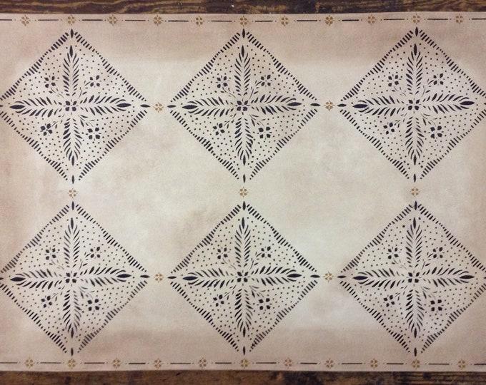 Custom Canvas Floorcloth - Durant Design in Black on Mottled Ivory - Area Rug - Floor Cloth - by Black Horse Studio/Jodi Myers
