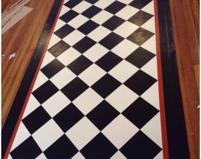Custom Canvas Floorcloth - Black and Ivory White Diamonds with Burnt Sienna Accent Line on Border