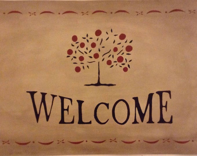 "Canvas Floorcloth Welcome Doormat -Tree of Life on Aged Tan - 20"" x 36"""
