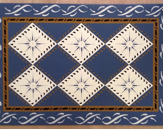 Custom Canvas Floorcloth - Compass Diamonds on Philipsburg Blue - Area Rug - Blue, Cream, Black - by Black Horse Studio