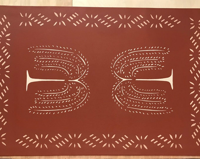 Custom Canvas Floorcloth - Light Beige Willow Trees on Tea Red - Floor Cloth Area Rug - Colonial Design