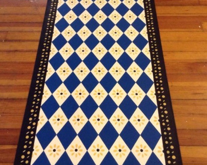Custom Canvas Floorcloth - Diamonds and Daisies - Blue, White, Black, Yellow - Black Horse Floorcloths by Black Horse Studio
