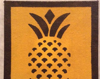 "4"" x 4"" Painted Canvas Coasters - Colonial Pineapple - Dark Green on Golden Yellow by Black Horse Floorcloths - Free Shipping!"