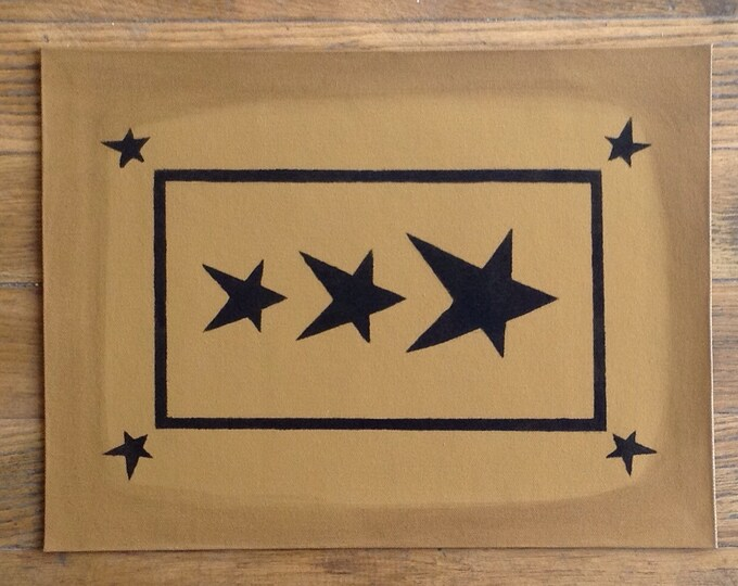 "In Stock, Ready to Ship!  10 1/2 x 14"" - Small Painted Canvas Placemat Table Mat - Black Stars on Graham Cracker Tan"