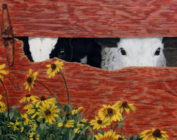 Peek-a-Moo - Limited Edition Gicleé Fine Art Print of Calves by Jodi Myers