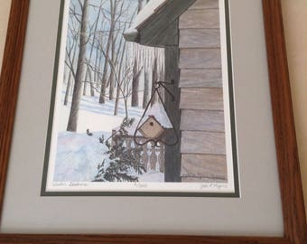 "Limited Edition Giclée Print - Framed - Overall Dimensions 13 5/8"" x 16 1/4"" - Winter Shadows - birdhouse, trees, snow scene"