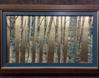 Original Acrylic Painting on wood panel - Custom Framed by artist - Birch Trees