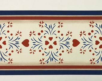 """Table Runner - Ready to go!  10 1/2"""" x 27"""" - Hand Painted Canvas - by Black Horse Floorcloths - red, white, blue - Americana"""
