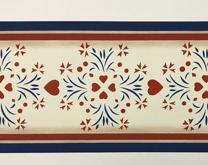 "Table Runner - Ready to go!  10 1/2"" x 27"" - Hand Painted Canvas - by Black Horse Floorcloths - red, white, blue - Americana"