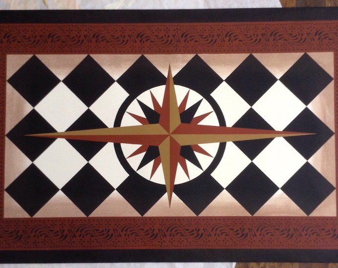 Custom Canvas Floorcloth - Mariner's Compass - by Black Horse Studio/Jodi Myers - choose your size