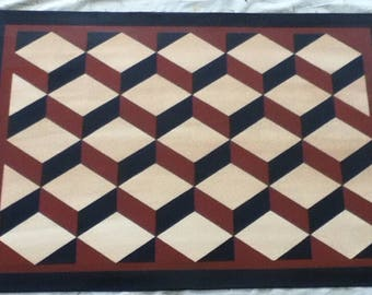 Custom Canvas Floorcloth - Tumbling Blocks - Black, Ivory, and Tea (rust) - Area Rug - Floor Cloth - choose your size