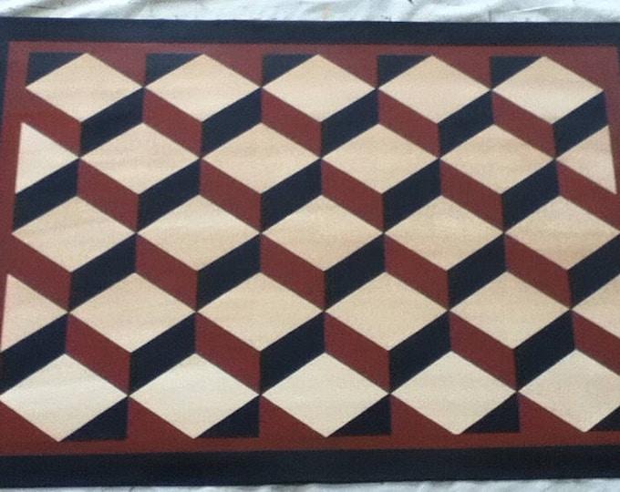 Custom Canvas Floorcloth - Tumbling Blocks - Black, Ivory, and Tea (rust) - Area Rug - Floor Cloth - choose your size
