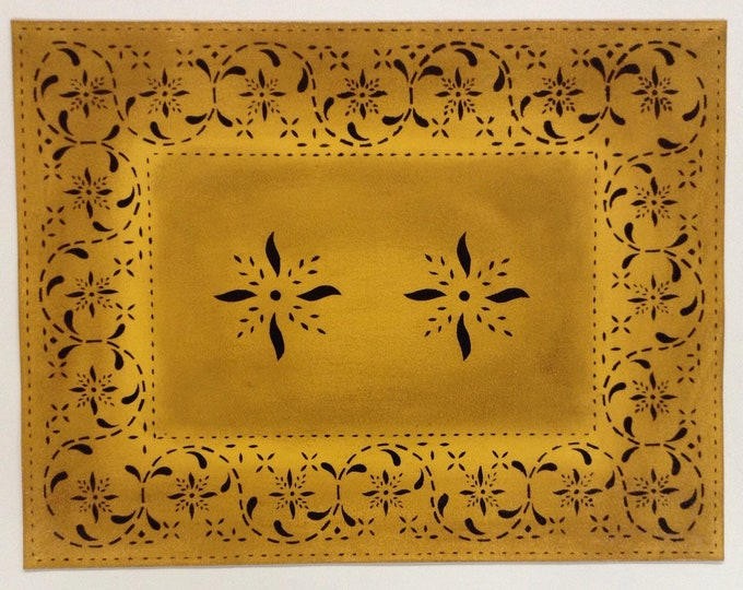 "12"" x 16"" Painted Canvas Placemats - Black Mayhouse Pinwheels on Cornhusk Yellow - custom order"