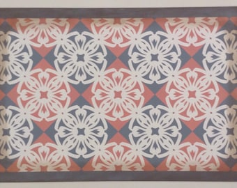 2' x 3' Canvas Floorcloth - Victorian Tile - Salmon pink, Puritan Gray, Cream - Area Rug