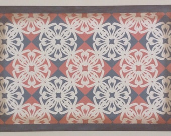 Ready Made 2' x 3' Canvas Floorcloth - Victorian Tile - Salmon pink, Puritan Gray, Cream - Area Rug