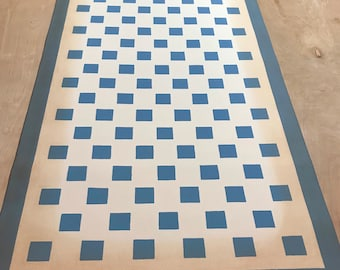 "24"" x 50"" Canvas Floorcloth - blue checks on Ivory White - ready made"