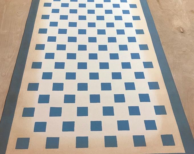 "24"" x 50"" Canvas Floorcloth - blue checks on Ivory White - ready made"