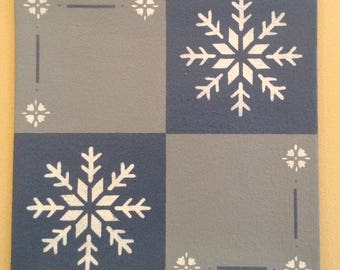 "Painted Canvas Trivet - 8"" x 8"" - Snowflakes on Philipsburg blue and light blue/grey  - by Black Horse Floorcloths"