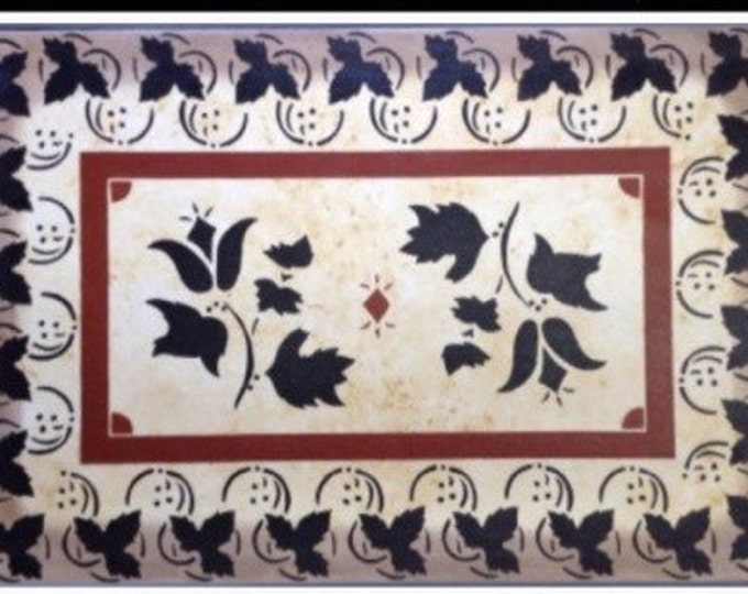 2' x 3' Canvas Floorcloth - Black and Tea Color on Mottled Ivory - by Black Horse Studio - leaves and flowers - hand painted floor cloth