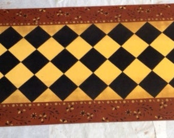 Custom Canvas Floorcloth Area Rug/Runner - Eaton Diamond Design Black, Yellow and Tea Red - by Black Horse Studio - Artist Jodi Myers