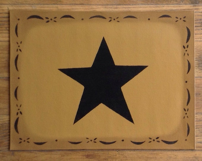 "In Stock, Ready to Ship!  10 1/2 x 14"" - Small Painted Canvas Placemat Table Mat - Black Star on Graham Cracker Tan"