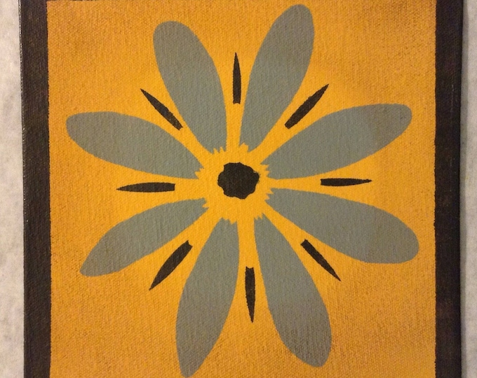 "Painted Canvas Trivet - 8"" x 8"" - Flower - Blue/Gray, Yellow, and Dark Green - by Black Horse Floorcloths"
