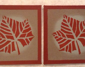 "Set of 2 - 4"" x 4"" Painted Canvas Coasters - Fall leaf - tea red (rust) and Blueish Gray by Black Horse Floorcloths"