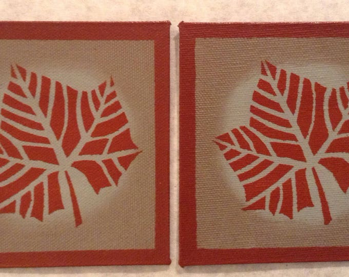 """Set of 2 - 4"""" x 4"""" Painted Canvas Coasters - Fall leaf - tea red (rust) and Blueish Gray by Black Horse Floorcloths"""
