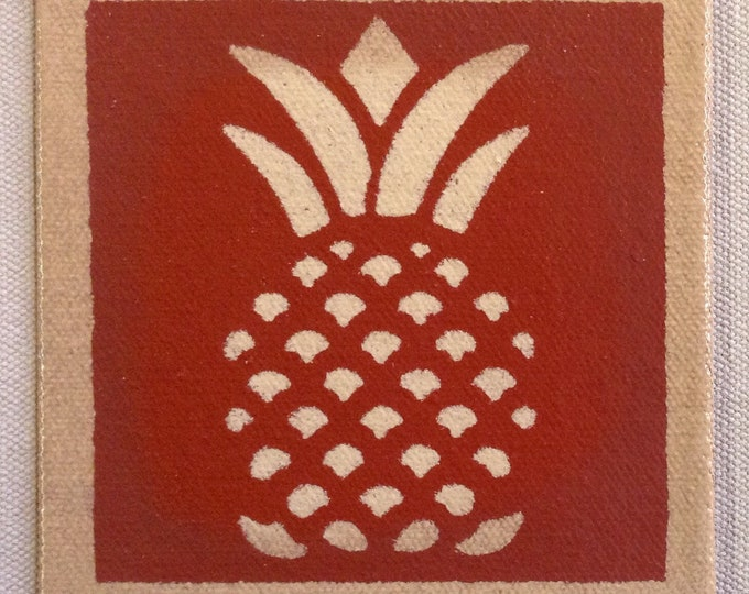 "4"" x 4"" Painted Canvas Coaster - Pineapple - tea red (rust) and light beige - by Black Horse Floorcloths"