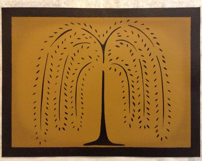 "12"" x 16"" Painted Canvas Placemats - Black Willow Tree and Solid Border on Graham Cracker Tan - custom order"