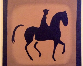 "Painted Canvas Trivet - 8"" x 8"" - Horse and Rider on Graham Cracker (tan) by Black Horse Floorcloths"