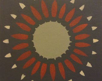 "Painted Canvas Trivet - 8"" x 8"" - ""Burst"" in Tan, Sienna, Hampshire Grey on Ashwood Moss  - by Black Horse Floorcloths"