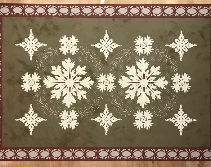 Ready Made 2' x 3' Canvas Floorcloth - Colonial Humphries House with Border - Mottled Bronze (green),beige, gray, white