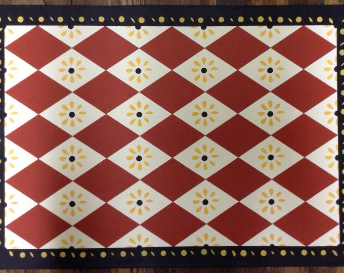 Custom Canvas Floorcloth - Diamonds and Daisies - Red, White, Black, Yellow - Black Horse Floorcloths by Black Horse Studio