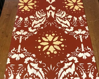 "12"" x 38 1/2"" Victorian Table Runner - Painted Canvas by Black Horse Floorcloths - Tea Red, Ivory White and Yellow"
