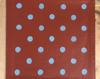 "Painted Canvas Trivet - 8"" x 8"" - Light Blue Polka Dots on Barn Red - by Black Horse Floorcloths"