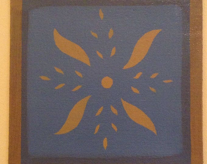 "Painted Canvas Trivet - 8"" x 8"" - tan pinwheel design on Philipsburg blue - by Black Horse Floorcloths"