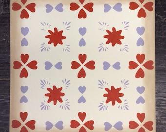 Custom Canvas Floorcloth - Hearts - Red, Violet purple, off white - Floor Cloth Area Rug - by Black Horse Studio/Jodi Myers