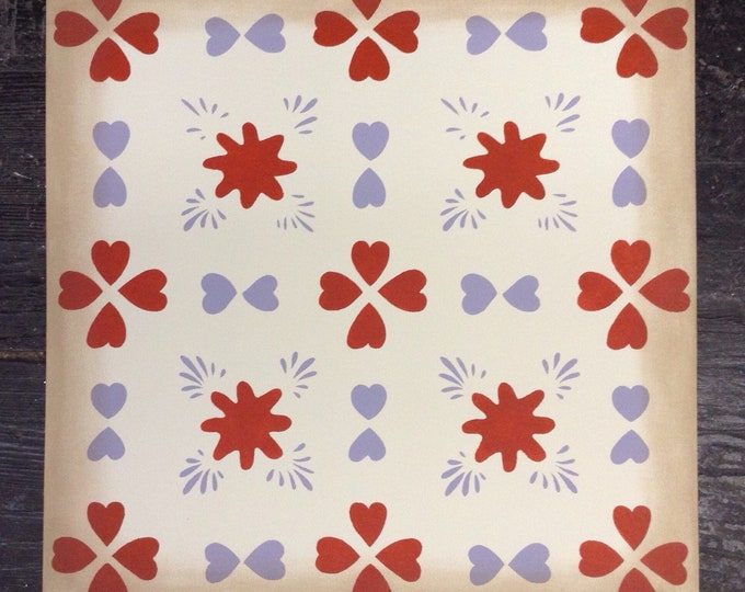 Custom Canvas Floorcloth - Hearts - Red, Violet purple, off white - Floor Cloth Area Rug - by Black Horse Studio/Jodi Myers