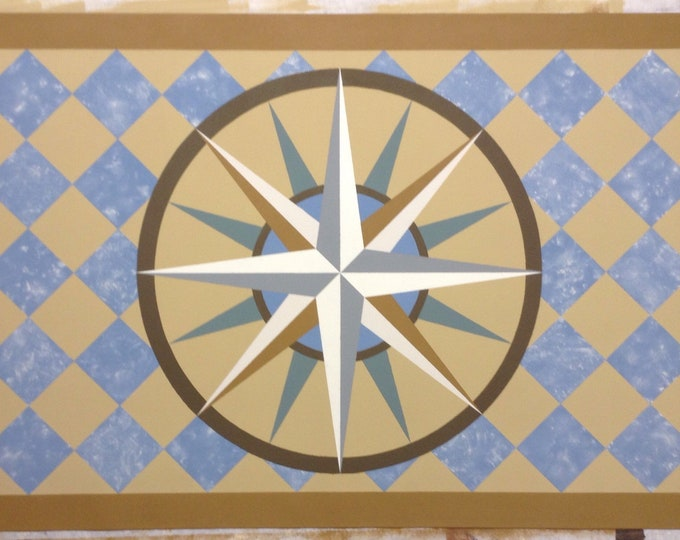 """30"""" x 43 1/2"""" Canvas Floorcloth - Mariner's Compass on Marbled Light Blue Diamonds - by Black Horse Studio"""