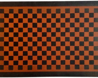 Custom Canvas Floorcloth - Black Checkerboard  Design on Tea Red - Floor Cloth Area Rug - by Black Horse Studio/Jodi Myers