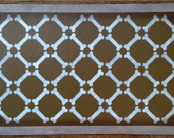 """Large Dog Placemat - Food Dish Mat - White Bones on Graham Cracker Color - 18"""" x 30"""" - by Black Horse Studio - Floorcloth - Ready to Ship!"""