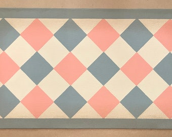 "Ready Made! - X-Small Dog/Cat Canvas Pet Placemat - Food Dish Mat - Floorcloth - 9"" x 16 1/2"" - Pink, Gray, Beige"