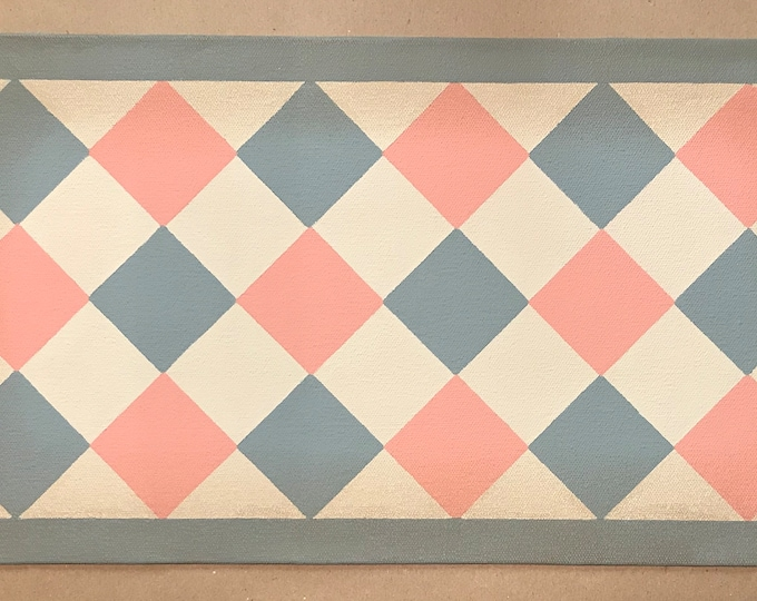 """Ready Made! - X-Small Dog/Cat Canvas Pet Placemat - Food Dish Mat - Floorcloth - 9"""" x 16 1/2"""" - Pink, Gray, Beige"""