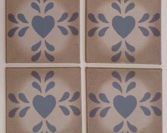 "Set of 4 - 4"" x 4"" Painted Canvas Coasters - Folk Art Heart - Blueish Gray on Light Beige by Black Horse Floorcloths"